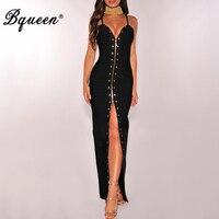 Bqueen 2017 New Deep V Floor Length Backless Lady Dress Fashion Zipper Rivet Spaghetti Strap Summer