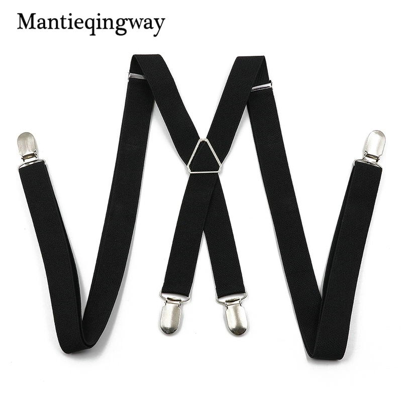 Mantieqingway Black Suspenders For Men Skinny Brace Business Trousers Pants Strap For Wedding Suspenders Braces Belt Strap