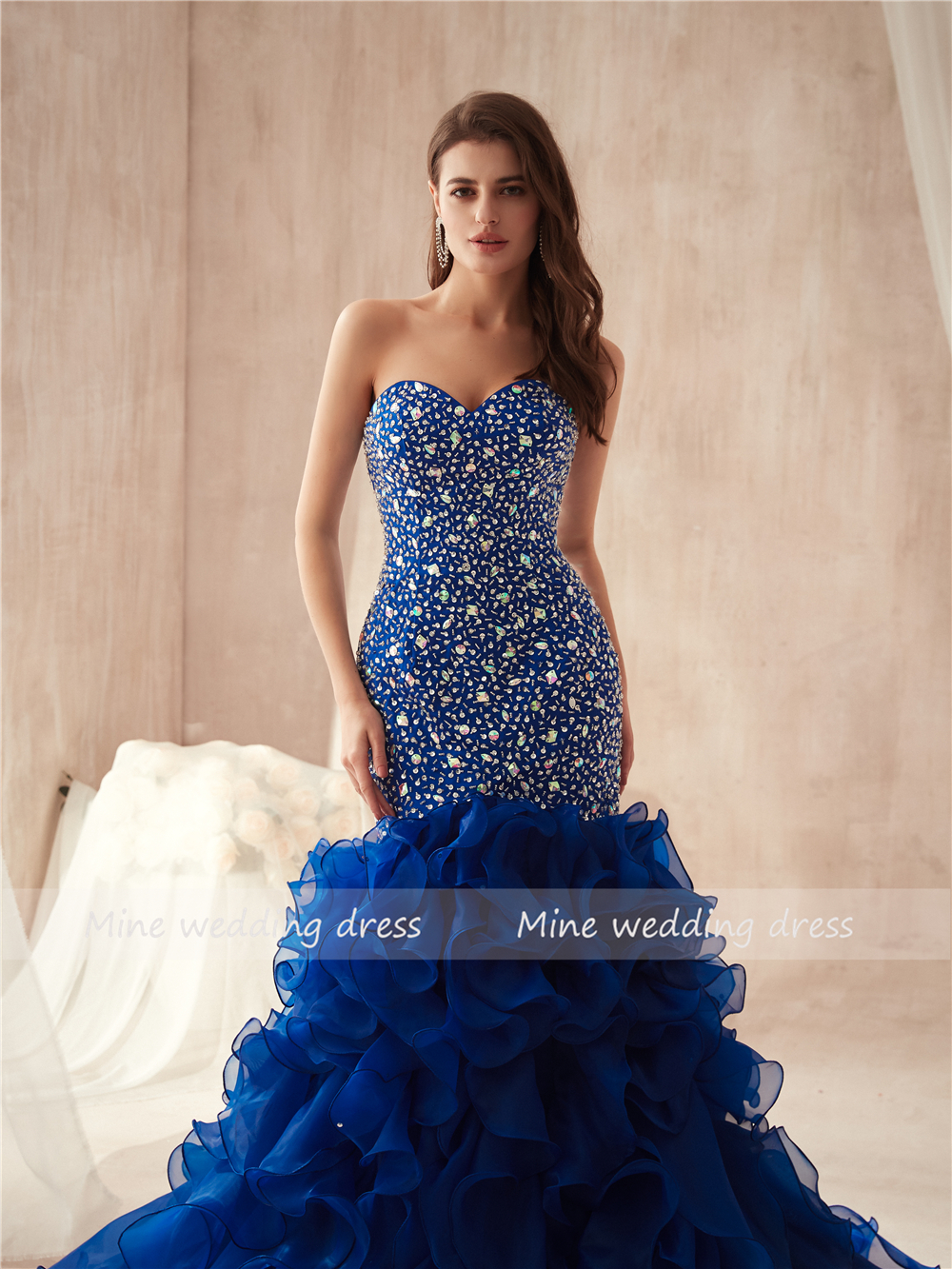 Strapless Royal Blue Colorful Beading Mermaid Prom Dresses Ruffled Organza Plus Size Famous Evening Gowns Party Gowns