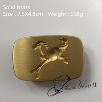 Retail New Style High Quality Yellow Solid Brass Horse Cowboy Belt Buckle For 4cm Wide Belt