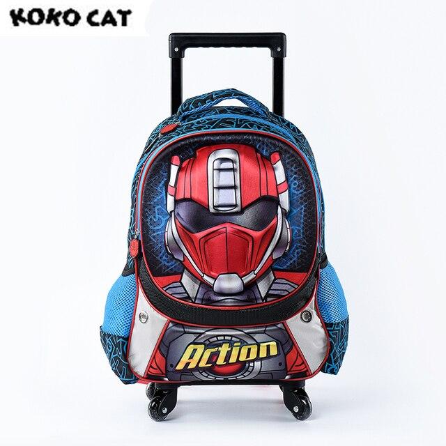 Cartoon 3D Kids Children School Trolley Bag Super Hero Bags Boys Bookbag  School Trolley Bag for Teens Boys Student Bag 13a90b8b03790