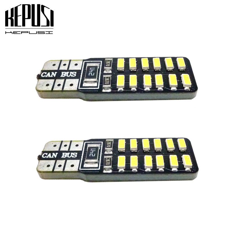 2x t10 w5w <font><b>LED</b></font> <font><b>canbus</b></font> 194 501 car interior light 24SMD 3014 Chip white Instrument Lights bulb <font><b>5w5</b></font> no error 12V Auto lamp white image