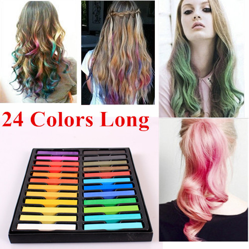 24 Colors Hair Chalk Long Size Temporary Non toxic Hair Pastels ...