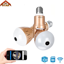 цена на Bulb Lamp Wireless IP Camera Wifi 1080P Panoramic 360 Degree Camera Support 64G FishEye Smart Home 3D VR Security CCTV Camera
