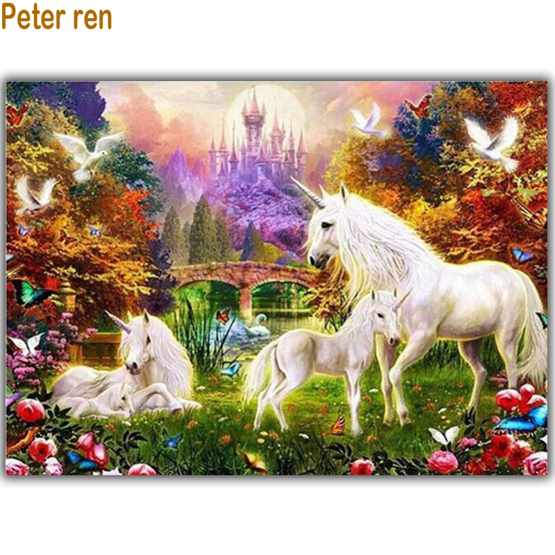 5D Diy Diamond painting unicorn Diamond Embroidery horse Full Square Diamond mosaic Rhinestone Crafts Embroidery Animal Paradise