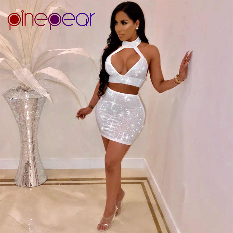 PinePear New 2019 Women Shiny Rhinestone Diamond Dress Sexy Hollow Out  Sleeveless Backless Night Out Outfits e7ed8ce09ee8