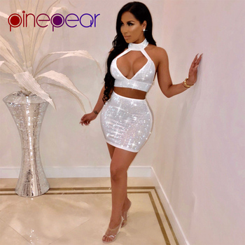 04e91c2a97 New 2019 Women Shiny Rhinestone Diamond Dress Sexy Hollow