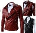 Мужчины Новый 2016 Мода Высокого Качества Красный Черный Кожа Pu куртки Мужские Съемный Slim Fit Мотоцикл Harley Куртка Мужчины Пальто M-XXL