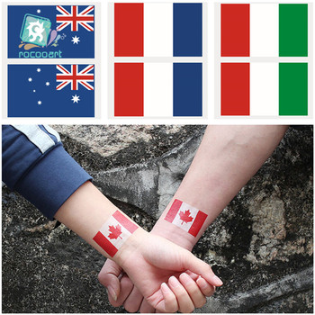 2018 Country Flags Tattoo Sticker Of Canada France Italy Australia Body Waterproof Temporary Tattoo For Men Women Kids