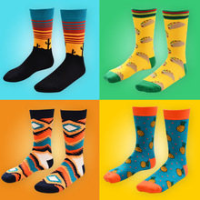 New Arrival Fashion Men Socks Crew Long Cactus Pineapple Pine Print Skate Casual Happy Funny Brand Calcetines Meias Winter Sox