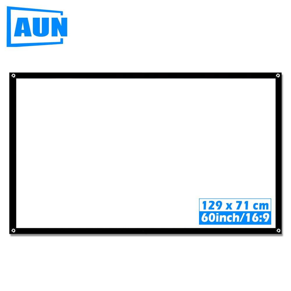 AUN 60 zoll 16:9 Tragbare Projektor Bildschirm Kunststoff Bildschirm für heimkino Reise unterstützung LED Projektor DLP proyector S60