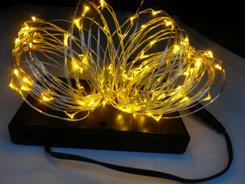 indoor 8 aa battery powered10m 100 led silver wire string. Black Bedroom Furniture Sets. Home Design Ideas