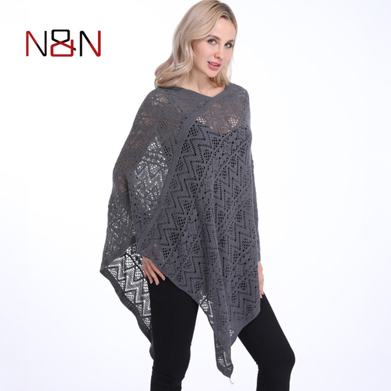 Fashion Sexy Bikini Poncho Thin Sweater Women Solid Hollow Out Cardigan Plus Size Pullovers Sweaters Cover Up