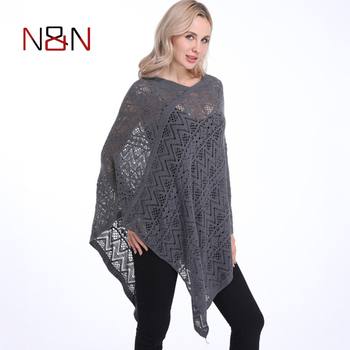 Fashion Sexy Bikini Poncho Thin Sweater Women Solid Hollow Out Cardigan Plus Size Pullovers Sweaters Cover Up plus size fringed zigzag poncho sweater