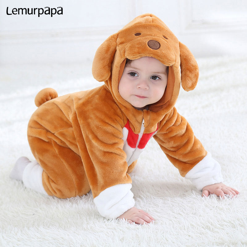 Brown Dog Onesie Baby Boy Girl Cute Lovely Kigurumi Infant Romper Animal Costume Winter Warm Clothes Zipper Play Suit Kid Outfit