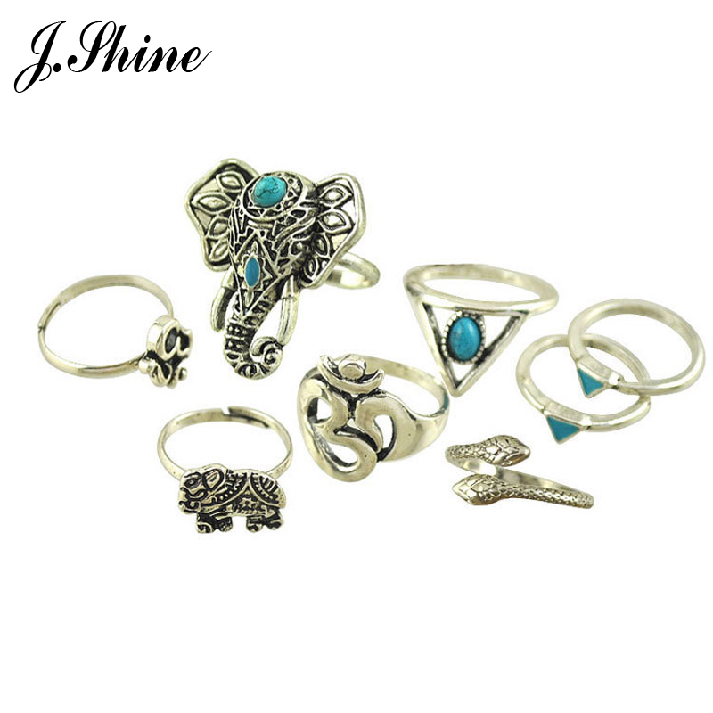Fashion Gypsy Jewelry New Vintage Silver Color Ring Set Stone Elephant Lucky Numbers Snake Geometric Rings Anel De Dedo