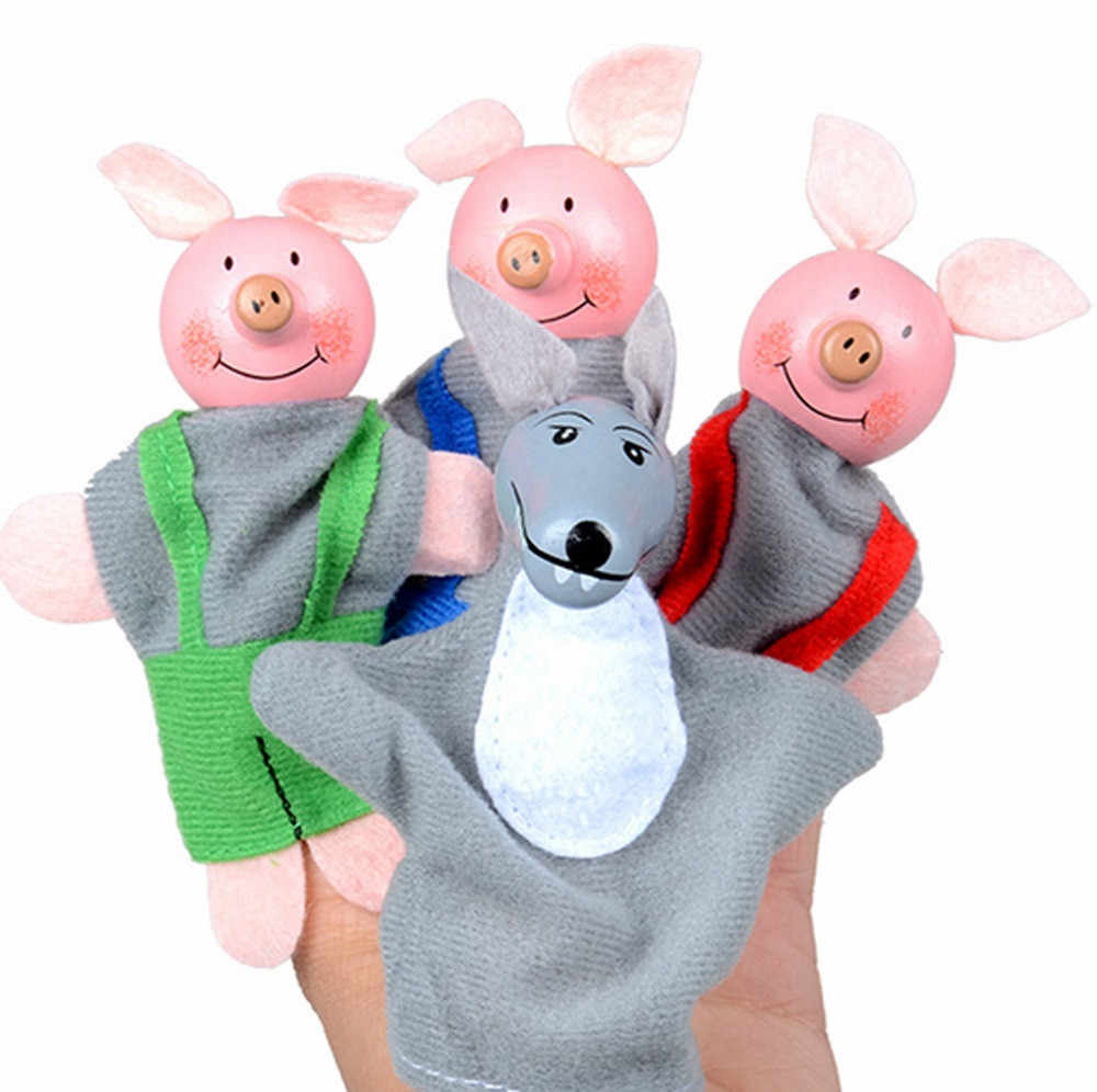 4PCS Finger Three Little Pigs And Wolf Mini Plush Baby Toy kids Finger Puppets Educational Story Hand Puppet Cloth Doll Toys