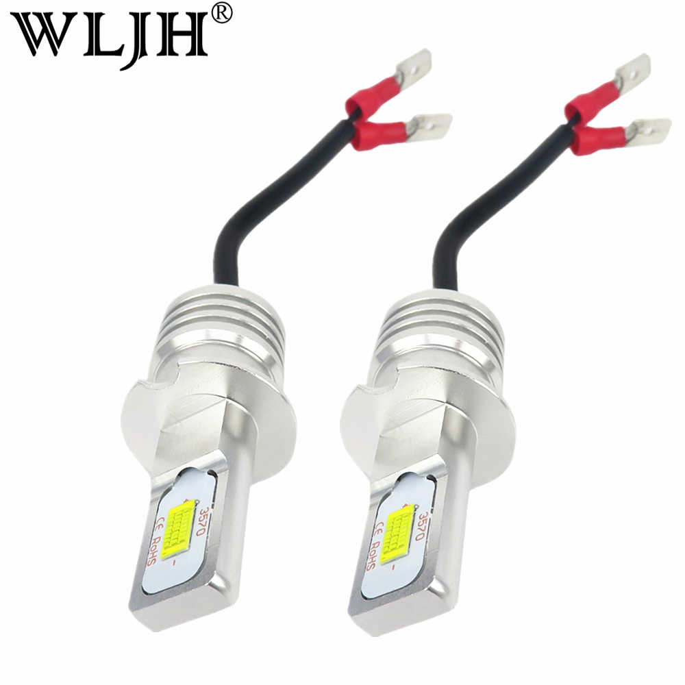 WLJH 2x DC12V- 24V High Power White 3570 CSP Chip H3 LED Replacement Bulbs For Car Fog Lights, Daytime Running Lights, DRL Lamps