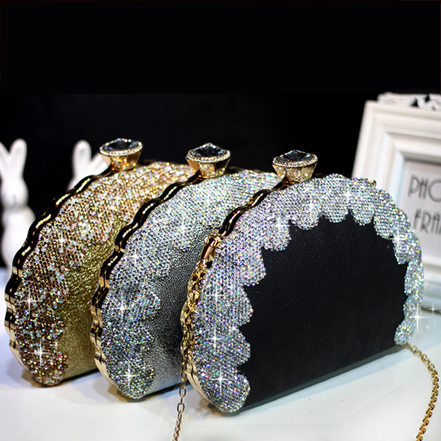 Women Crystal Handbags Evening Clutch Bags Luxury Crossbody Shoulder Bags Retro Wedding Bride Purses Women Shell Chain Bags