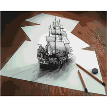 New 3D Painting Sailing boat Blue Sea paint picture By Numbers Digital Coloring Unique Gift room decor Home Decoration