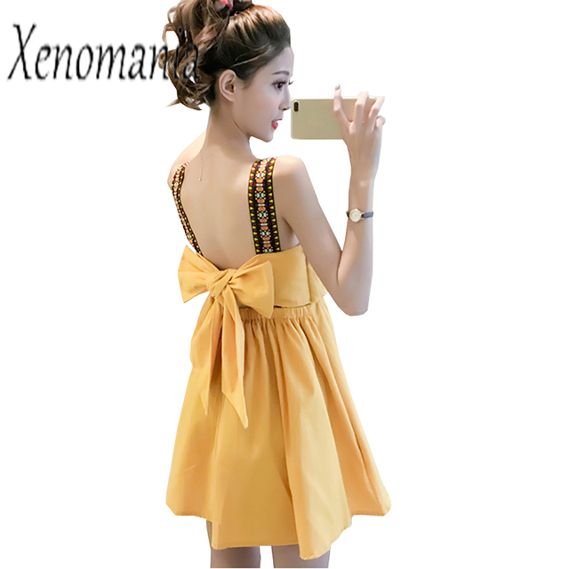 2b2e923bbf5 Kawaii Dress Korean Backless Dress Women Sundress Sexy Beach Party Dresses  2019 Summer Yellow Club Cute Harajuku Skater Robe
