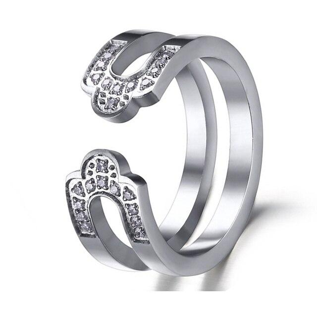2016 jewelry new trendy open-end woman rings cubic zirconia diamonds titanium steel wedding ring women alliance