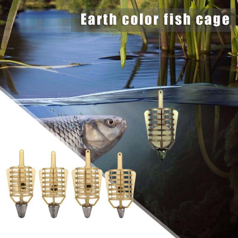 Yellow Boat Fishing Bait Feeder Cages Fishing Tool Accessories 1PC Bait Cage Fishing Connector Lead Sinker Fishing Tackle Feeder