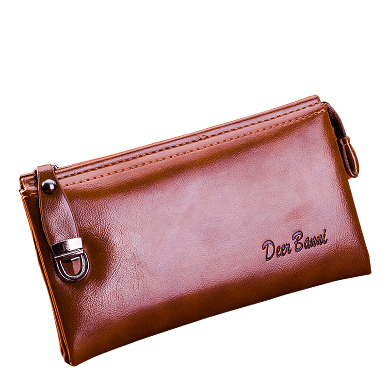 New Fashion Business Men's Wallet Genuine Leather Zipper Wallet Male's Purse Solid Card&ID Holder Hasp Men Clutch nahoo lanyard id badge clip name label plastic badge leather card holder vertical credit card bus card holder office supplies