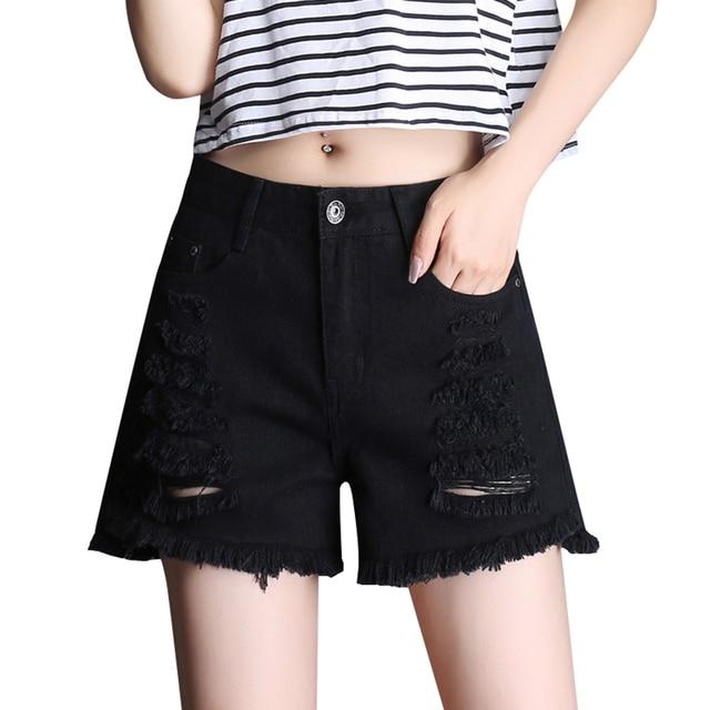9a9c7a2a76 Pantalones vaqueros de cintura alta sexis destruidos pantalones cortos de  mezclilla negros para mujer moda corta