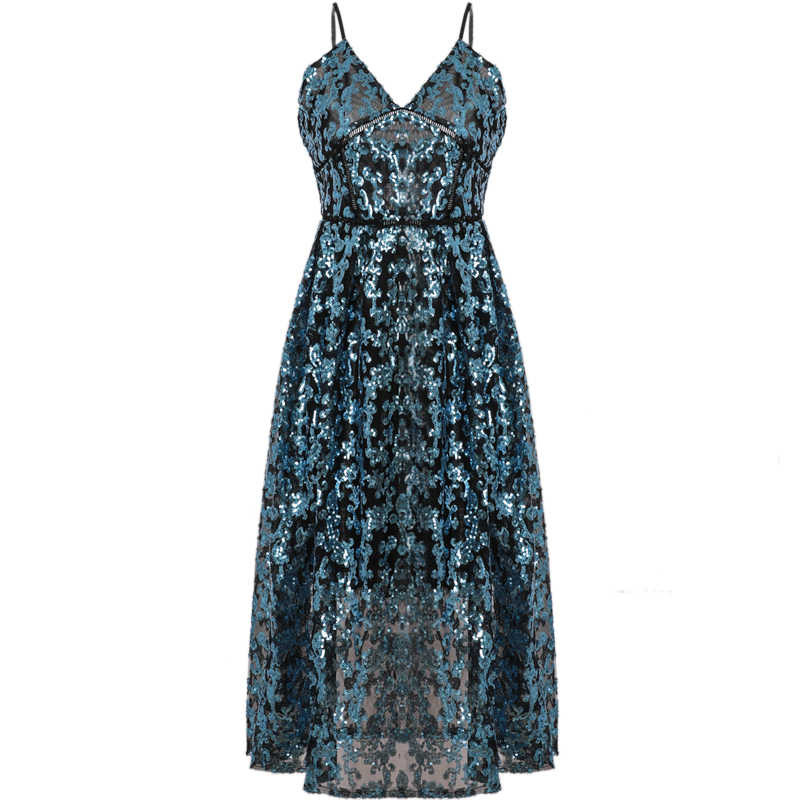 c1dc318139 ... 2019 Self Portrait Designer Runway Dress Women Sexy V Neck Backless Blue  Sequined Dresses Female Spaghetti ...