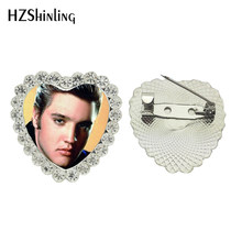 2017 Nuovo Cabochon In Vetro Dei Monili Del Cuore di Elvis Presley Spilla in Cristallo Spille Popolare Rock Star Del Seno Spille Regali Ventole Art Photo spille(China)