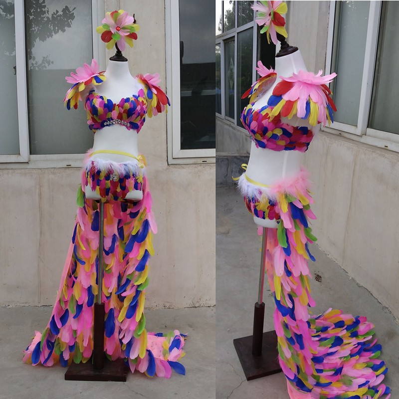 Nice Color feather underwear DJ jazz samba singer lead dancer clothing T stage model catwalk shows wings props party performance