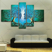 5 piece Handmade flower Tree Canvas Painting Modern Abstract Oil on Wall Art wedding Gift Living Room Decor