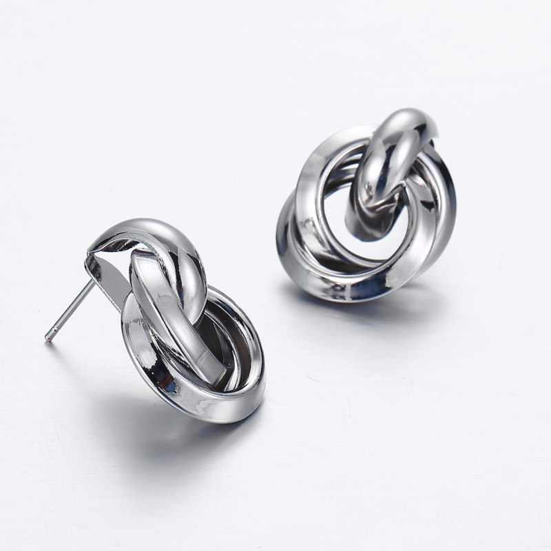 Vintage Geometric Metal Earrings ZA Sequin Stud Earrings for Women Gold Silver Fashion Female Statement Jewelry Gift Wholesale