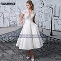 vestidos de noiva de luxo mariage lace appliques V neck a line short wedding dresses 2017 vintage wedding gowns Bride trouwjurk
