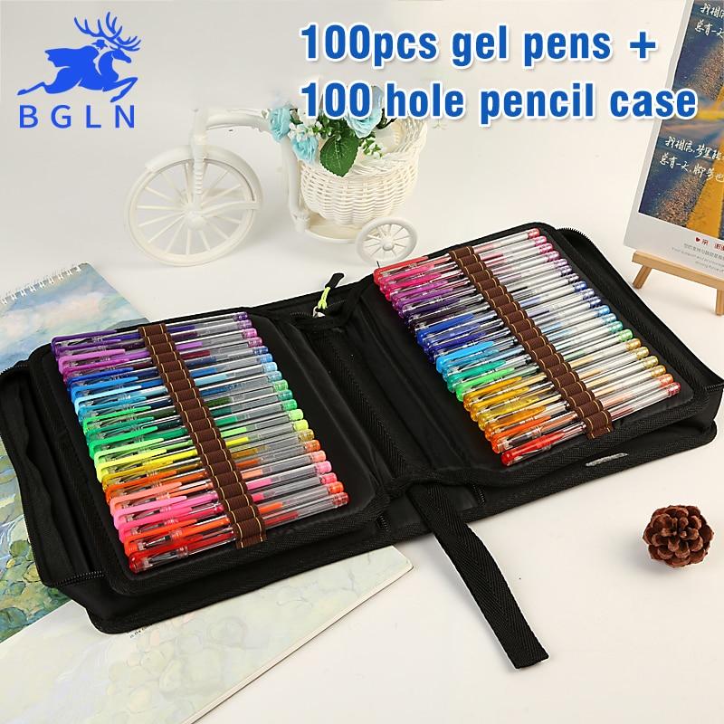 BGLN 100Colors Gel Pens With Canvas Bag Set Refills Ink Pen Metallic Pastel Neon Glitter School Sketch For Drawing Color