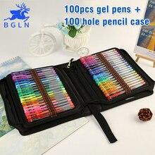 Bgln 100 cores gel canetas com saco de lona conjunto recargas gel tinta caneta metálico pastel neon glitter escola esboço para desenho caneta cor