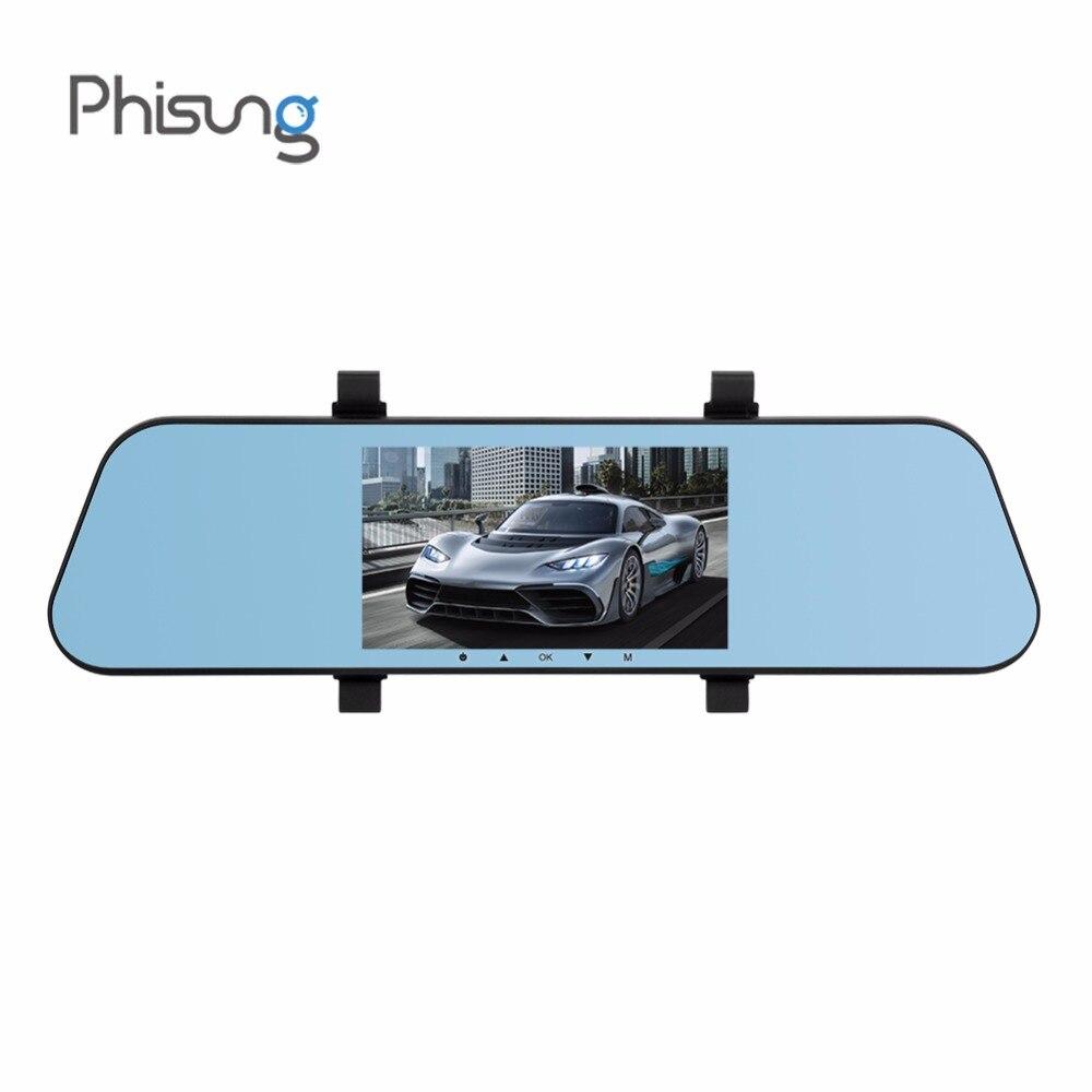 лучшая цена Phisung T29 Car DVR Dual Dash Cam Rearview Mirror 5