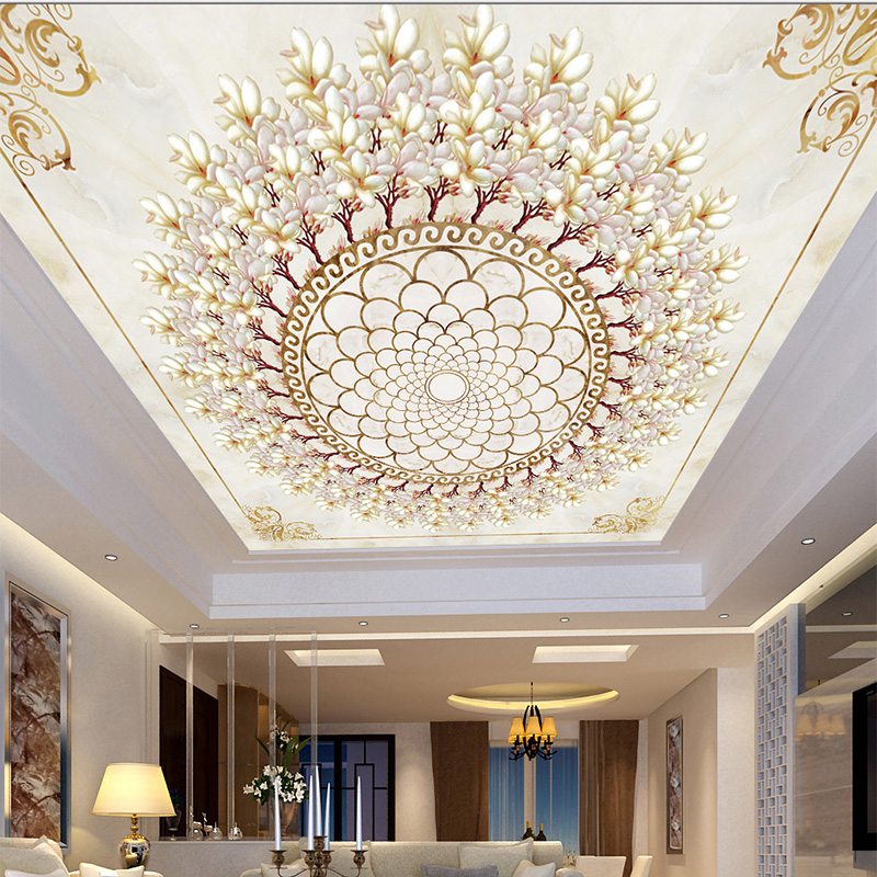 Chinese Style Orchid Imitation Color Carved Stone Wallpaper 3D Ceiling Murals Living Room Bedroom Ceiling Fresco Papel De Parede