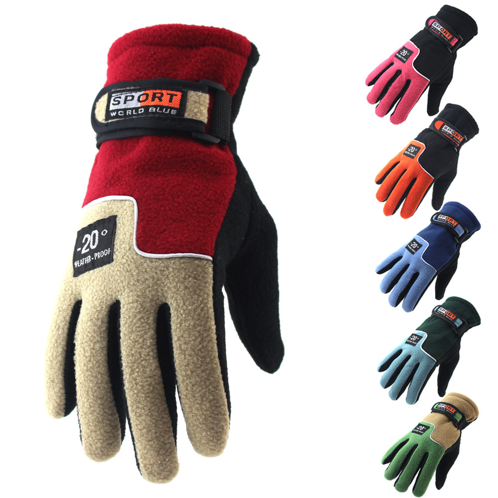 Winter Fleece Cycling Gloves Warm Full Finger for Men/ Women Bike Gloves Outdoor MTB Mountain Climbing Sport Windproof Gloves