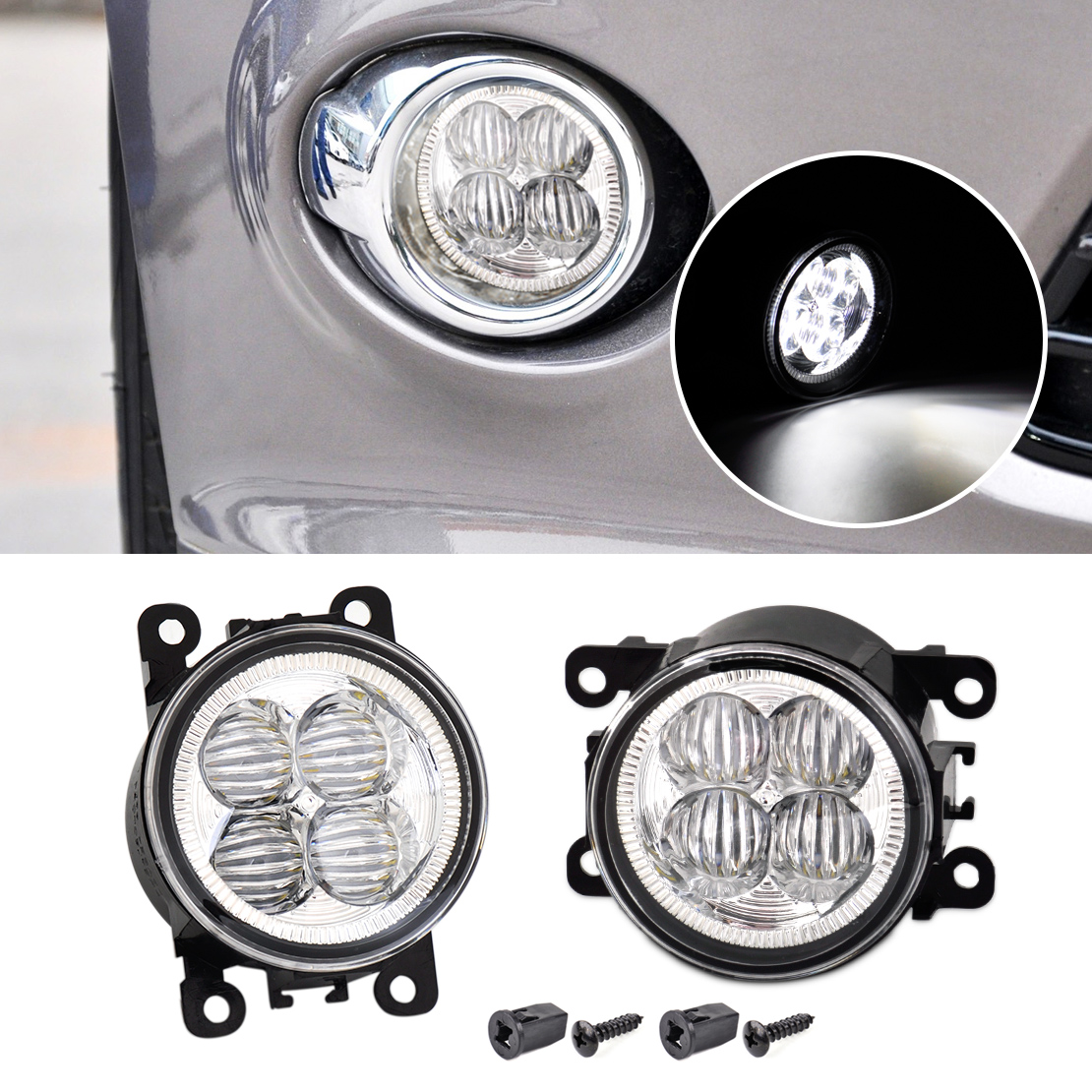 beler 2pcs Highlighted LED White Fog Light Lamp Replacement 3225-2050B AC2592111 for Ford Focus Acura Honda Subaru Nissan Suzuki dwcx fog light lamp female adapter wiring harness sockets wire connector for ford focus acura nissan honda cr v infiniti subaru