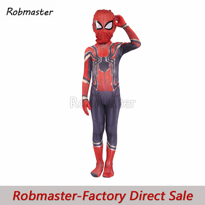 Newest Iron Spiderman Cosplay Costume Avengers Spider Zentai For Kids Boys Halloween Superhero Spiderman Bodysuit Suit Jumpsuit