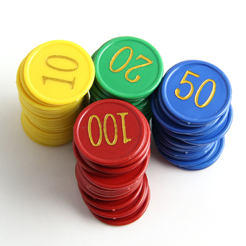 160Pcs Plastic Poker Chip with Golden Large Numbers 1