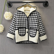 Double pocket hooded single row of thousands of birds grid baby girl down coat autumn and winter children's clothing jacket
