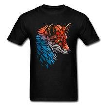 Tribal Fox Red Blue Tshirt Classic T Shirt Men's T-shirts Fashion Crew Neck Clothes Pure Cotton Tees Printed Tops Free Shipping(China)