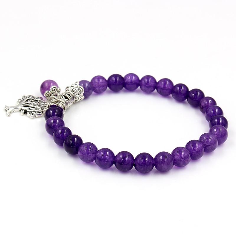 Image 3 - Women Mens Purple Stone Beaded Bracelets Mala Prayer Yoga Beads  Reiki Healing Meditation Tree of Life Pendant Energy BangleCharm  Bracelets