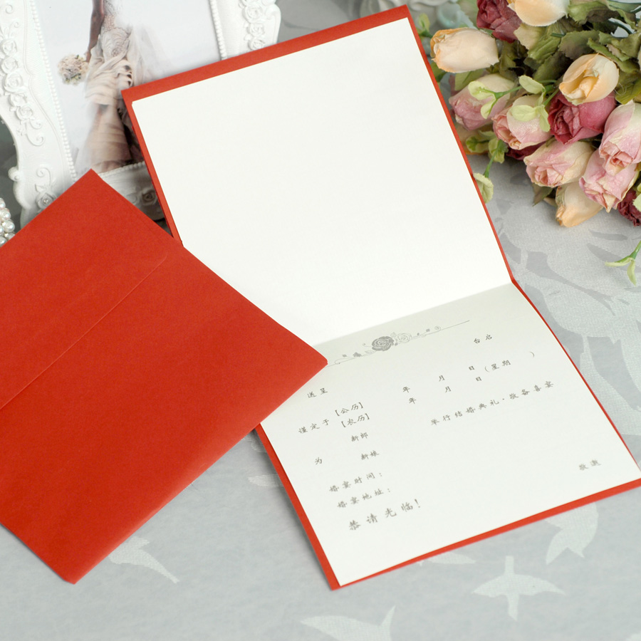 Square shape Hot Red Color Lace flower Wedding Invitation Card with ...