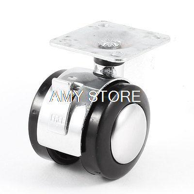1.5 40mm Black Single Wheel Side Brake Threaded Swivel Caster for Furniture Each Load-Bearing 15kg fslh 10mm threaded stem 2 inch dia wheel chair swivel caster 5 pcs black