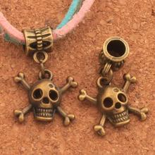 Pirate Skull Halloween Charm Beads 22PCS Antique Bronze Dangle Fit European Bracelets Jewelry DIY B976 25.5x16.6mm