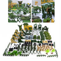 Action Figures Army Men Soldier Playset with Scaled Vehicles Tank Helicopter  Military Base set Military Toy Model Set 200 Piece